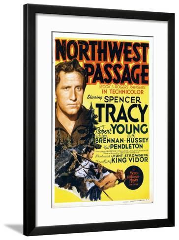 NORTHWEST PASSAGE, left: Spencer Tracy on midget window card, 1940--Framed Art Print