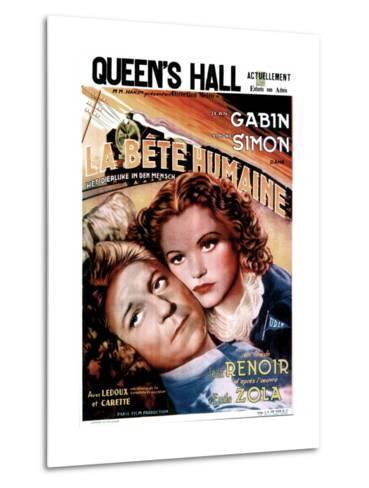 LA BETE HUMAINE, French poster, from left: Jean Gabin, Simone Simon, 1938.--Metal Print