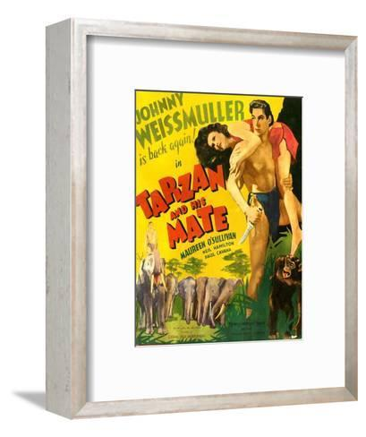 TARZAN AND HIS MATE, from left: Maureen O'Sullivan, Johnny Weissmuller, 1934.--Framed Art Print
