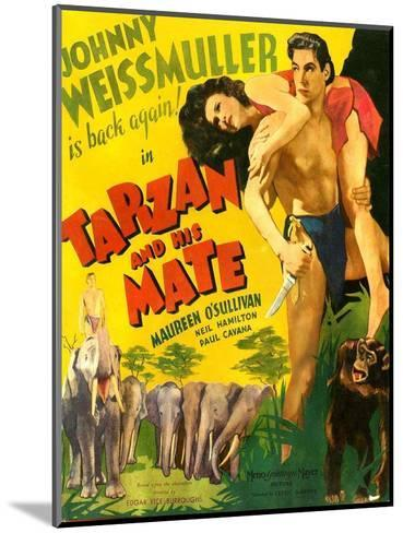 TARZAN AND HIS MATE, from left: Maureen O'Sullivan, Johnny Weissmuller, 1934.--Mounted Art Print