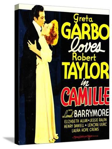 Camille, Robert Taylor, Greta Garbo on window card, 1936--Stretched Canvas Print