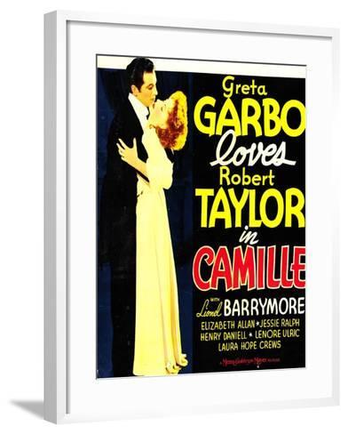 Camille, Robert Taylor, Greta Garbo on window card, 1936--Framed Art Print