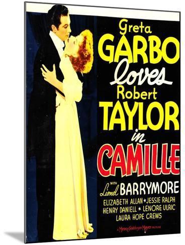 Camille, Robert Taylor, Greta Garbo on window card, 1936--Mounted Art Print