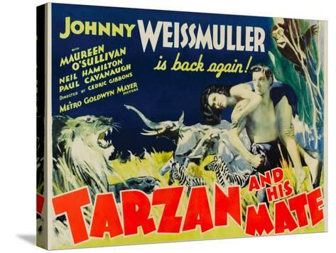 Tarzan and His Mate, Maureen O'Sullivan, Johnny Weissmuller, 1934--Stretched Canvas Print