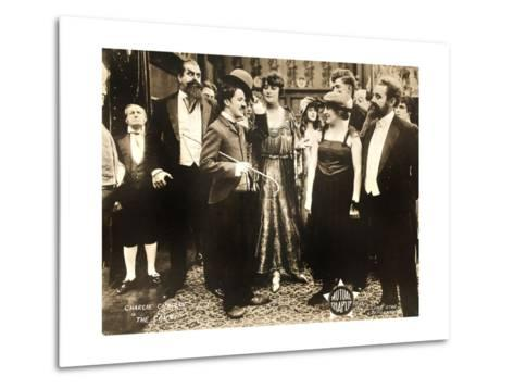 THE COUNT, foreground left: Charlie Chaplin, foreground second from right: Edna Purviance, 1916.--Metal Print