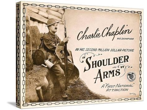 SHOULDER ARMS, on left: Charles Chaplin (aka 'Charlie Chaplin') on Title Card, 1918.--Stretched Canvas Print