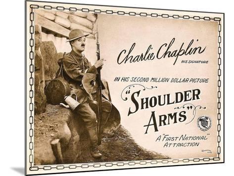 SHOULDER ARMS, on left: Charles Chaplin (aka 'Charlie Chaplin') on Title Card, 1918.--Mounted Art Print