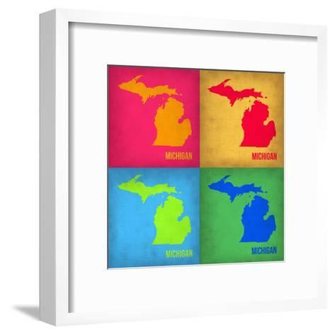 Michigan Pop Art Map 1-NaxArt-Framed Art Print