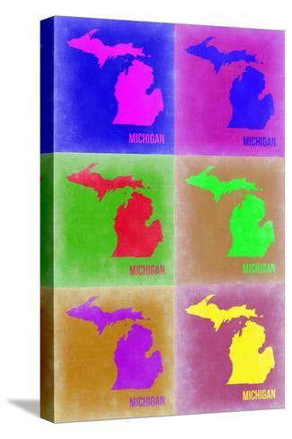 Michigan Pop Art Map 2-NaxArt-Stretched Canvas Print