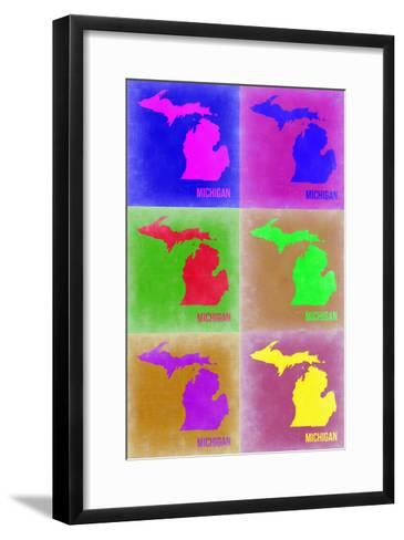 Michigan Pop Art Map 2-NaxArt-Framed Art Print