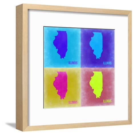 Illinois Pop Art Map 2-NaxArt-Framed Art Print