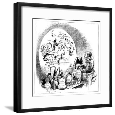 Microbiology Caricature, 19th Century-Science Photo Library-Framed Art Print