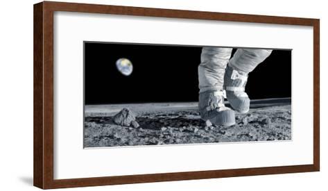 Astronaut Walking on the Moon-Detlev Van Ravenswaay-Framed Art Print