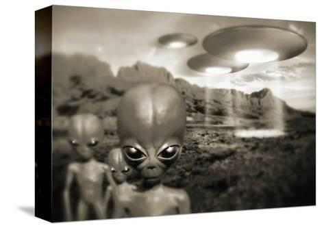 Alien Contact In the 1940s, Artwork-Detlev Van Ravenswaay-Stretched Canvas Print