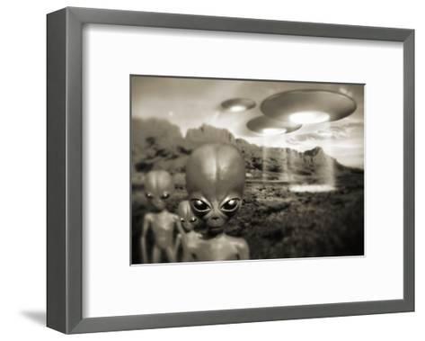 Alien Contact In the 1940s, Artwork-Detlev Van Ravenswaay-Framed Art Print