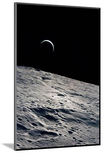 Cresent Earth, As Seen From the Moon--Mounted Giclee Print