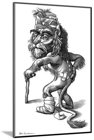 Injured Lion, Conceptual Artwork-Bill Sanderson-Mounted Giclee Print