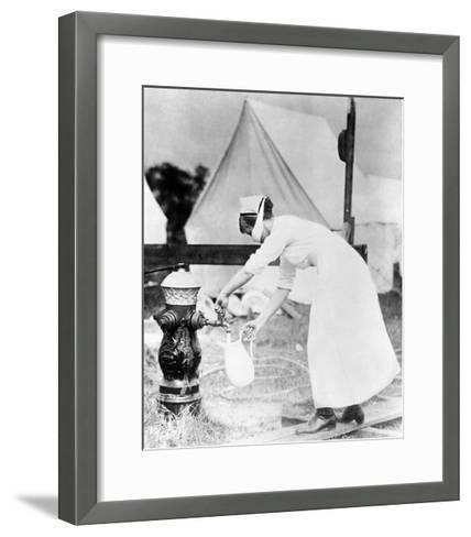 Nurse Collecting Water, USA, 1918--Framed Art Print