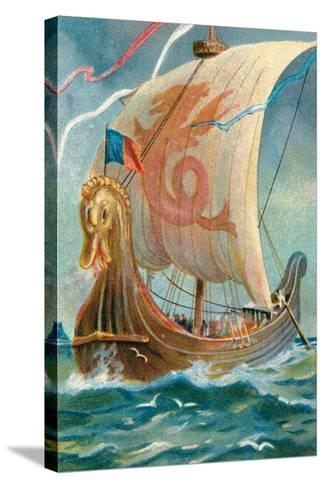Anglo-Saxon Ship--Stretched Canvas Print