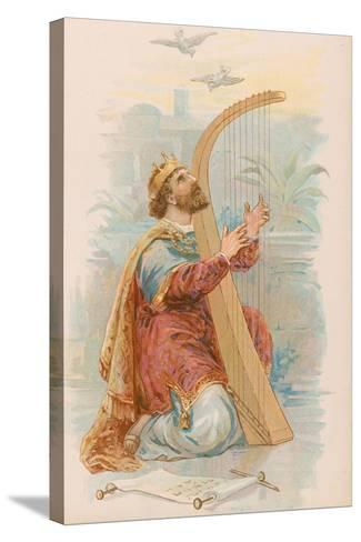 King David Playing the Harp--Stretched Canvas Print
