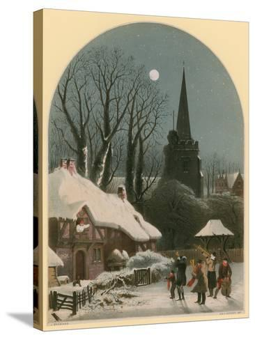 Victorian Christmas Scene with Band Playing in the Snow-John Brandard-Stretched Canvas Print