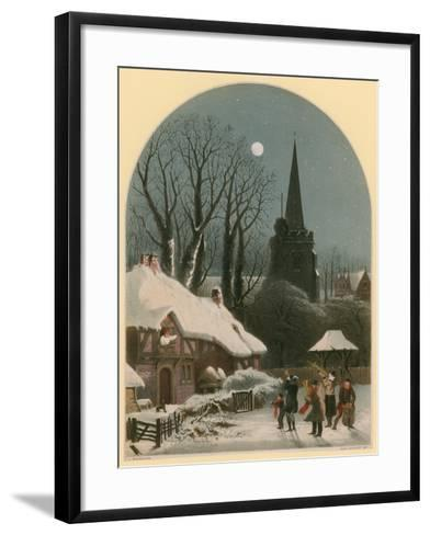 Victorian Christmas Scene with Band Playing in the Snow-John Brandard-Framed Art Print