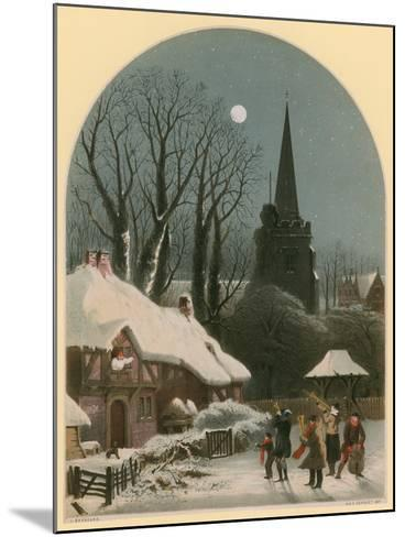 Victorian Christmas Scene with Band Playing in the Snow-John Brandard-Mounted Giclee Print