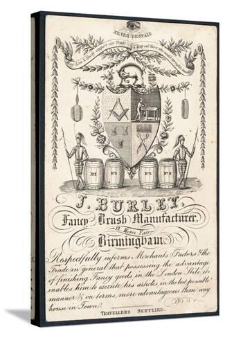 J Burley, Fancy Brush Manufacturer, Trade Card--Stretched Canvas Print