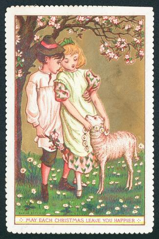 Girl and Boy with Lamb, Christmas Card--Stretched Canvas Print