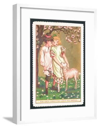 Girl and Boy with Lamb, Christmas Card--Framed Art Print