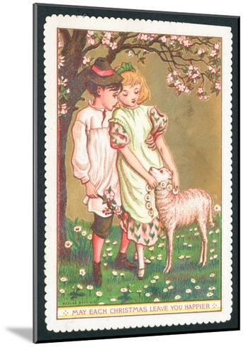 Girl and Boy with Lamb, Christmas Card--Mounted Giclee Print