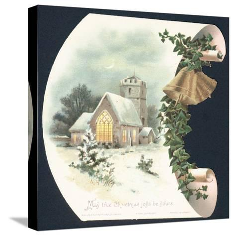 Snow Scene and Church, Christmas Card--Stretched Canvas Print