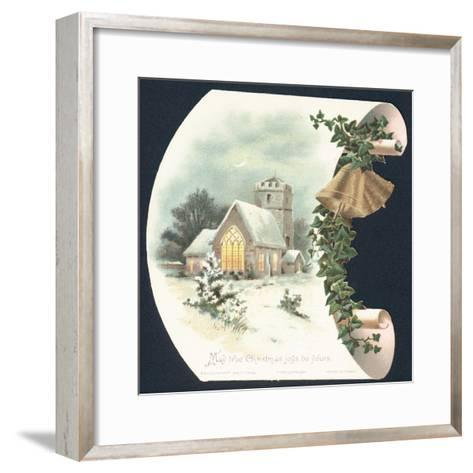 Snow Scene and Church, Christmas Card--Framed Art Print
