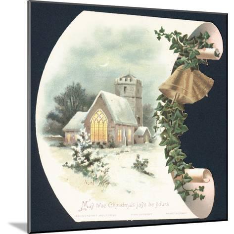 Snow Scene and Church, Christmas Card--Mounted Giclee Print