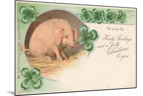 Pig in Clover--Mounted Giclee Print