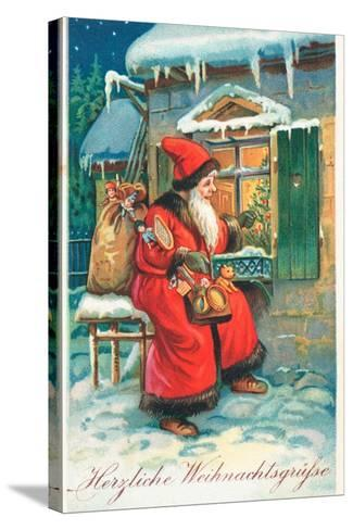 Father Christmas-German School-Stretched Canvas Print