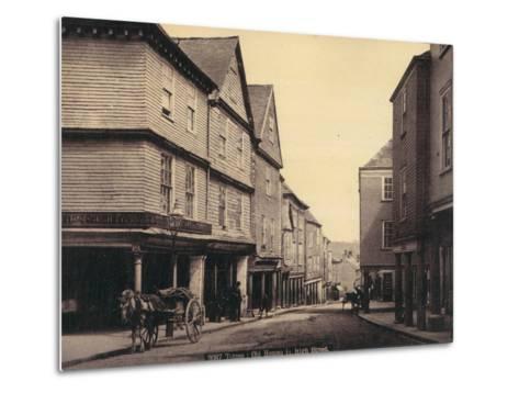 Totnes, Old Houses in High Street--Metal Print