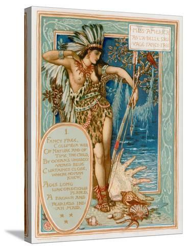Miss America as La Belle Sauvage Fancy Free-Walter Crane-Stretched Canvas Print