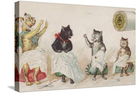 Four Busy Cats Sewing-American School-Stretched Canvas Print