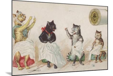 Four Busy Cats Sewing-American School-Mounted Giclee Print