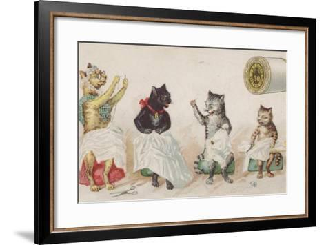 Four Busy Cats Sewing-American School-Framed Art Print