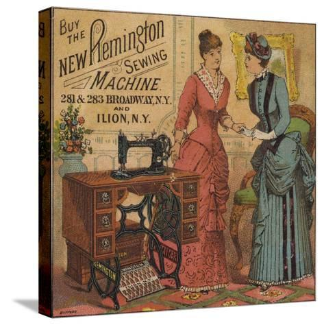 Ladies Looking at Sewing Machine--Stretched Canvas Print