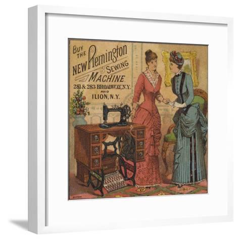 Ladies Looking at Sewing Machine--Framed Art Print