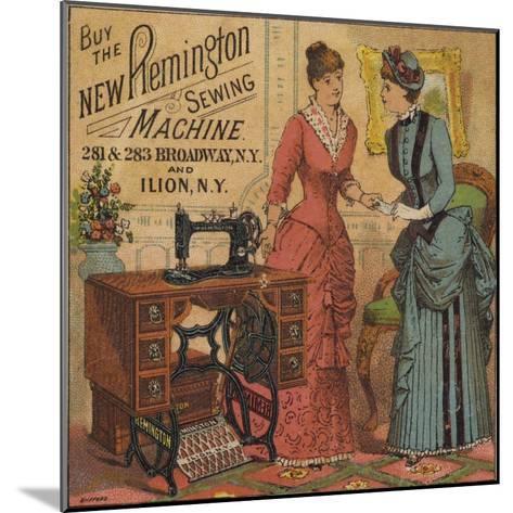 Ladies Looking at Sewing Machine--Mounted Giclee Print