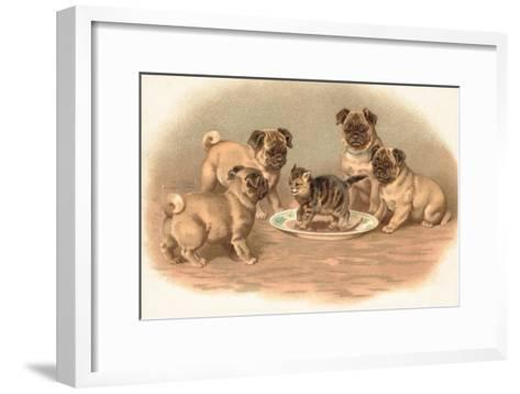 Four Pug Dogs Sitting around a Kitten on a Plate-English School-Framed Art Print