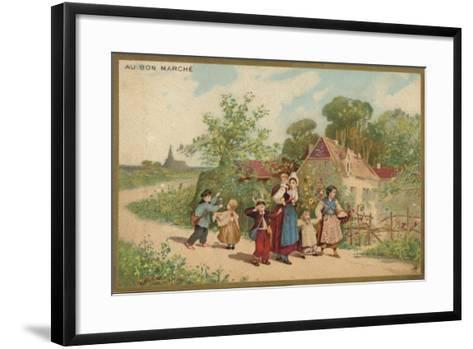Women and Children Walking--Framed Art Print