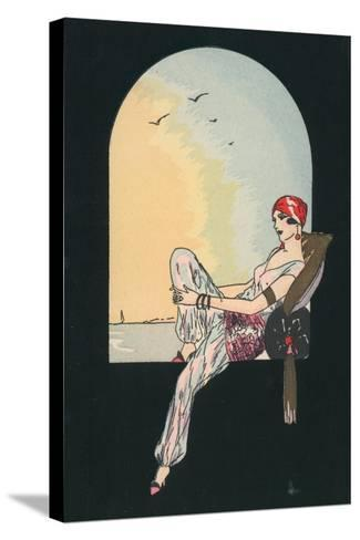 Art Deco Image of a Woman Reclining in a Window Seat--Stretched Canvas Print
