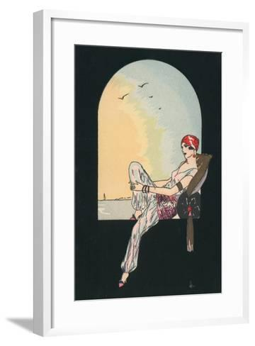 Art Deco Image of a Woman Reclining in a Window Seat--Framed Art Print