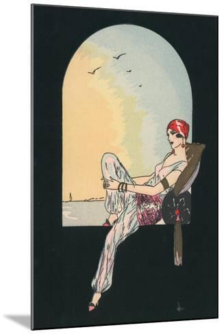 Art Deco Image of a Woman Reclining in a Window Seat--Mounted Giclee Print