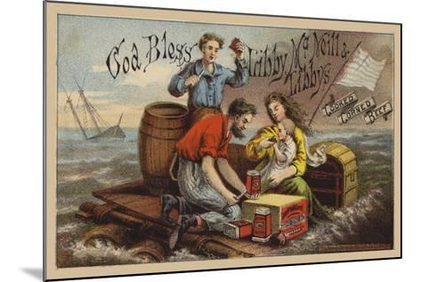 Shipwreck Survivors, Eating Corned Beef on a Raft in Storm--Mounted Giclee Print